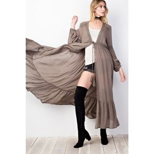 Sweaters - Maxi Open Front Long Duster Cardigan New Olive